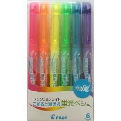 Pilot Frixion Highlighter, Neon színek, radírozható szövegkiemelő (6 db/csomag)