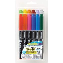 Kuretake Fudebiyori ecsetfilc készlet (CBK-55/12V), 12 színű, közepesen puha hegyű