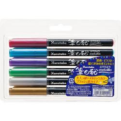 Kuretake Fudebiyori Metallic ecsetfilc készlet (CBK-55ME/6V), 6 színű, közepesen puha hegyű
