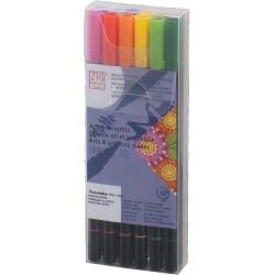 Kuretake ZIG Art & Graphic Twin kétvégű ecsetfilc, 12 színű készlet, alapszínek (TUT-80/12VBA)