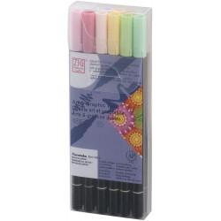 Kuretake ZIG Art & Graphic Twin kétvégű ecsetfilc, 12 színű készlet, halvány színek (TUT-80/12VPA)