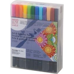 Kuretake ZIG Art & Graphic Twin ecsetfilc, 48 színű készlet (TUT-80/48V)