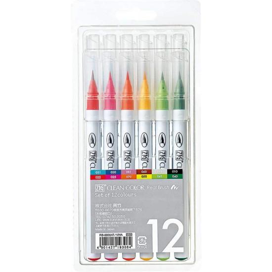 ZIG Clean Color Real Brush Pen, 12 színű készlet, valódi ecset (RB-6000/12V)