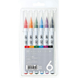 ZIG Clean Color Real Brush Pen, 6 színű készlet, valódi ecset hegy (RB-6000/6V)