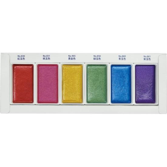 Kuretake Gansai Tambi Gem japán vízfesték, drágakő színek,  6 szín (MC20GC/6V)