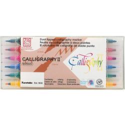 Kuretake ZIG Calligraphy II, kétvégű ecsettoll 6 színű készlet  (MS-3500/6V)