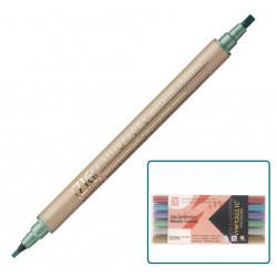 Kuretake ZIG Calligraphy Metallic Colours, metszett hegyű, kétvégű ecsettoll, fémes, 6 színű készlet (MS-8400/6V)
