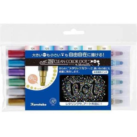 Kuretake ZIG Clean Color DOT Metallic, 6 színű készlet (TC-8100/6V)