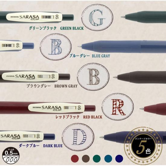 Zebra Sarasa zselés toll, 0.5 mm, nosztalgia (vintage) színek, 1. csomag (kékesszürke, sötétkék, szürkésbarna, burgundi, sötétzöld)