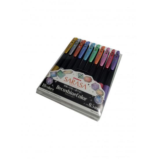 Zebra Sarasa zselés toll, 0.5 mm, fémes, csillogó színek dekoráláshoz