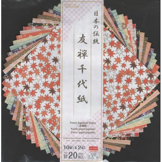 Origamipapír, hagyományos japán minták (145 × 145 mm, 20 lapos)