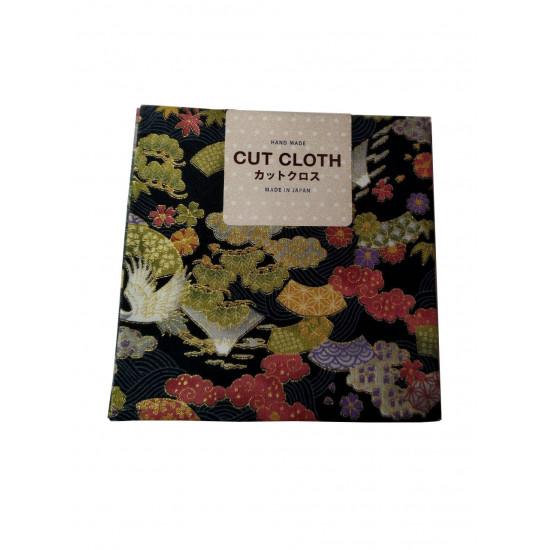 Vászon csomagolókendő:  fekete,  japános mintával