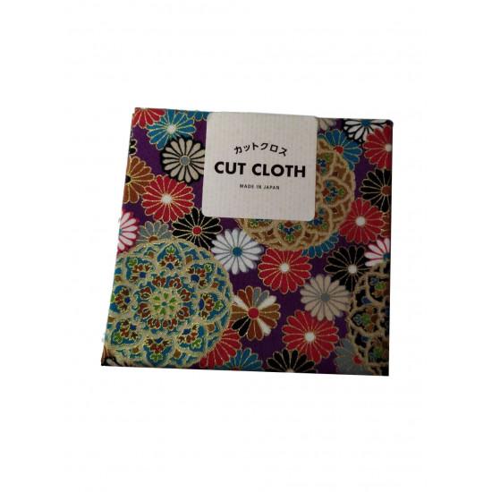 Vászon csomagolókendő:  lila,  japános mintával